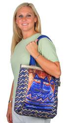 Laurel Burch Blue Azul Cat Shoulder Tote Bag