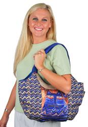 Laurel Burch Large Blue Azul Cat ZigZag Scoop Tote Bag