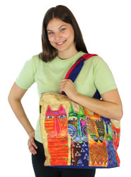 Laurel Burch Long Neck Cats Shoulder Tote LB5611