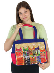 Laurel Burch Long Neck Cats Medium Tote LB5612