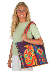 Laurel Burch Flowering Canines Large Square Tote